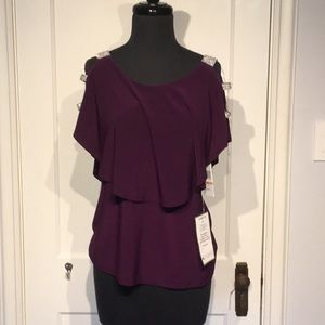 NWT♦️MSK Plum Layered Jeweled Sleeves Top